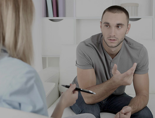 Man doing talk therapy