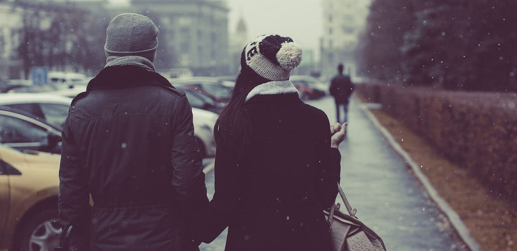 Couple walking in street