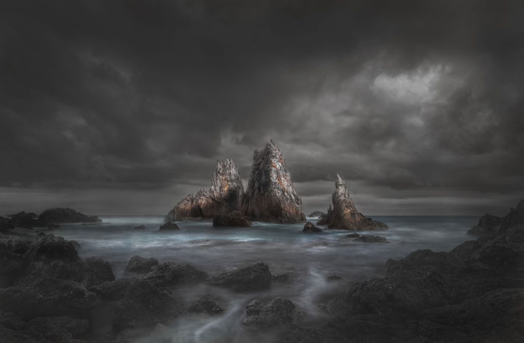 Stormy view of rocky oceanscape
