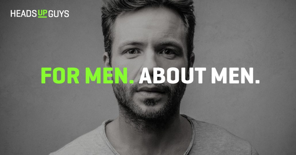 "Man starring at camera, with ""For Men. About Men"" text overlaid"