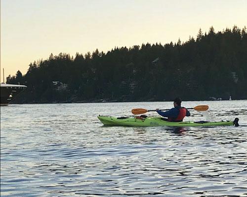 Isaac kayaking