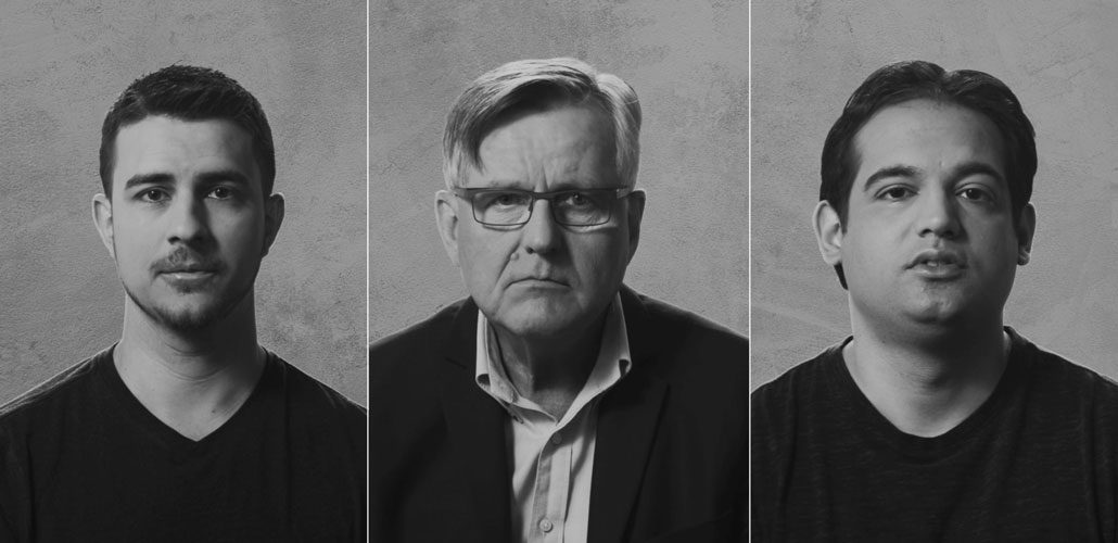 Portraits of three men in black and white