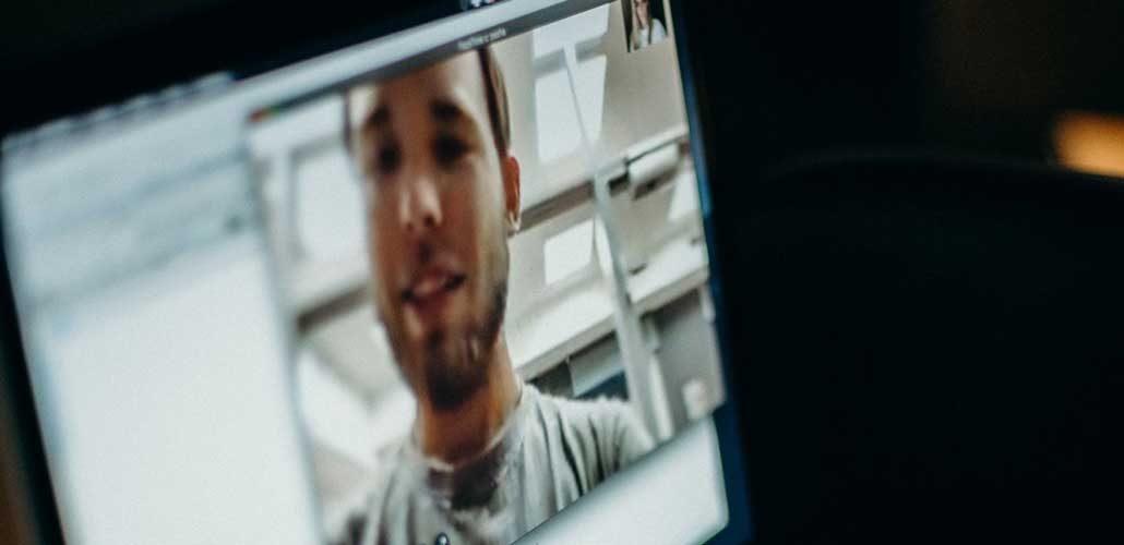 Man on video call