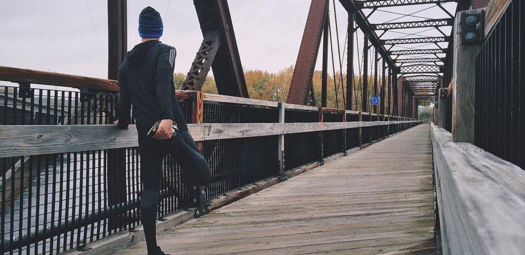 Man stretching before a jog