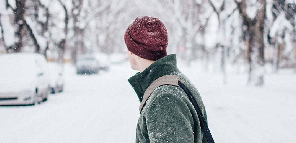 Man walking in snow