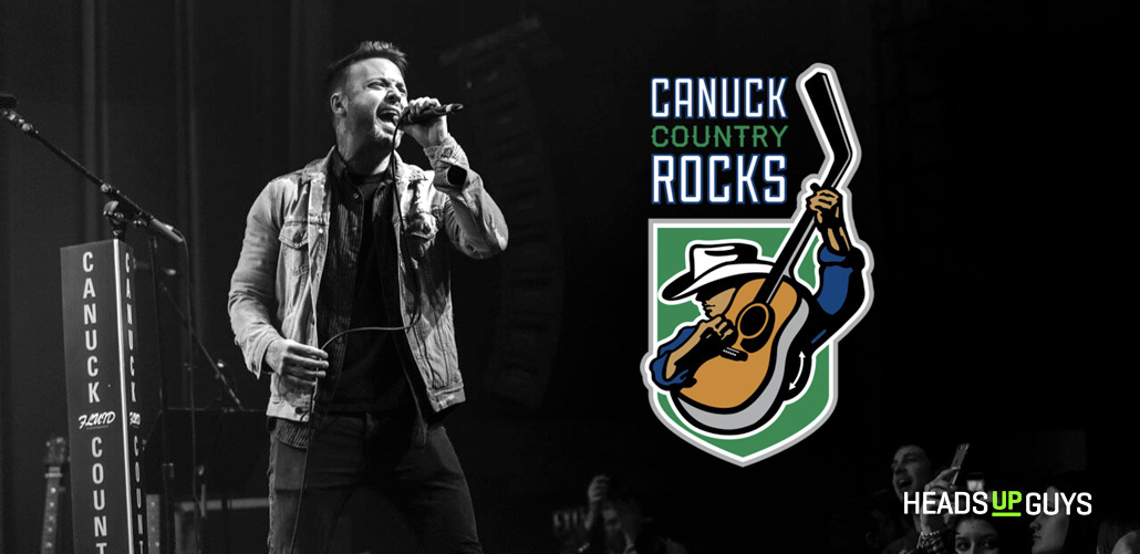 Singer performing at Canucks Country Rock Event