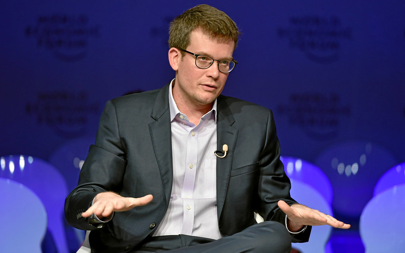 John Green answering questions in lecture hall