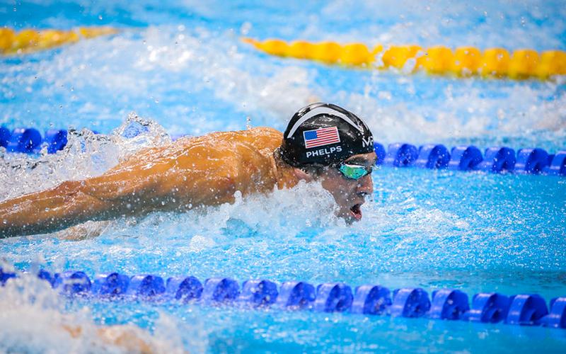 Michael Phelps in butterfly stroke race