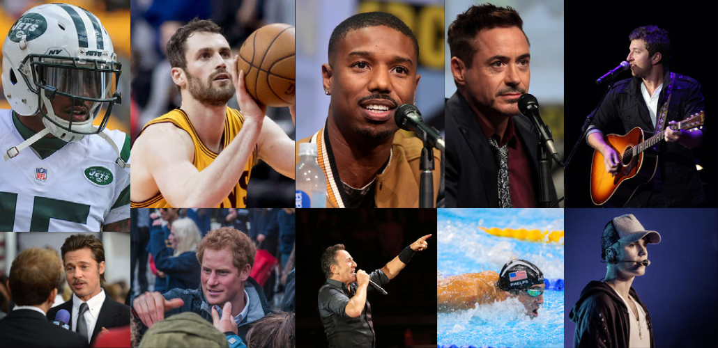 Collage of male athletes and celebrities who've spoken about therapy