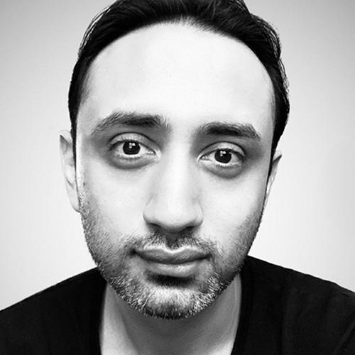 Black and white portrait of Pratik